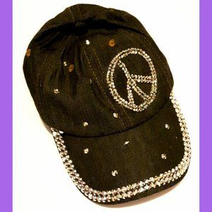 Dark Denim Glitter Peace Baseball Hat Adult Size